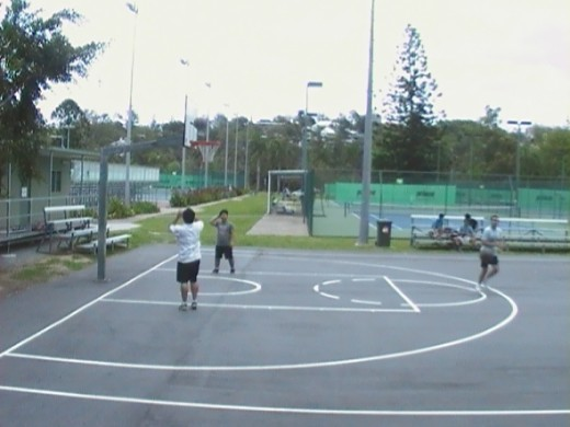 Playing Basket ball at St Lucia UQ