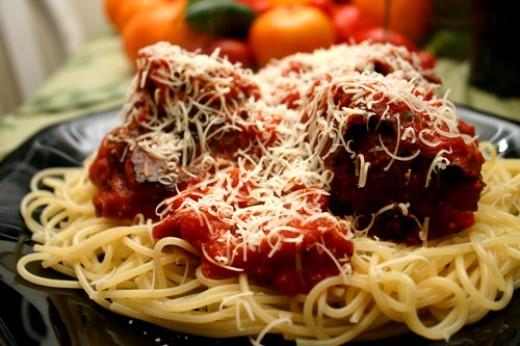 meatballs and spaghetti. bison meatballs in marinara,