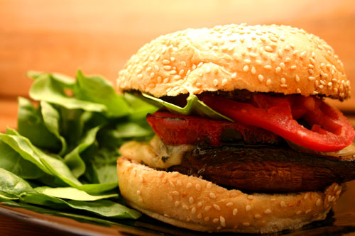 Grilled Portobello Mushroom Sandwich with Roasted Red Pepper