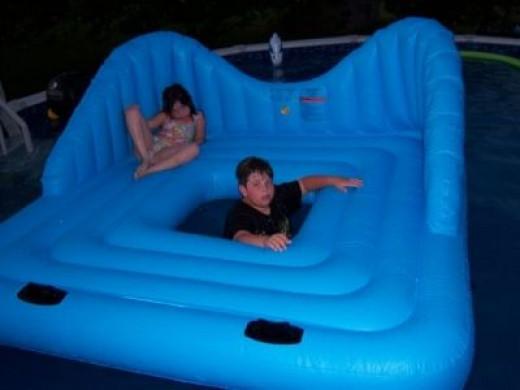 My kids on their HUGE raft