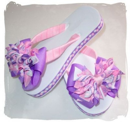 Fancy Flip Flops done with Ribbons