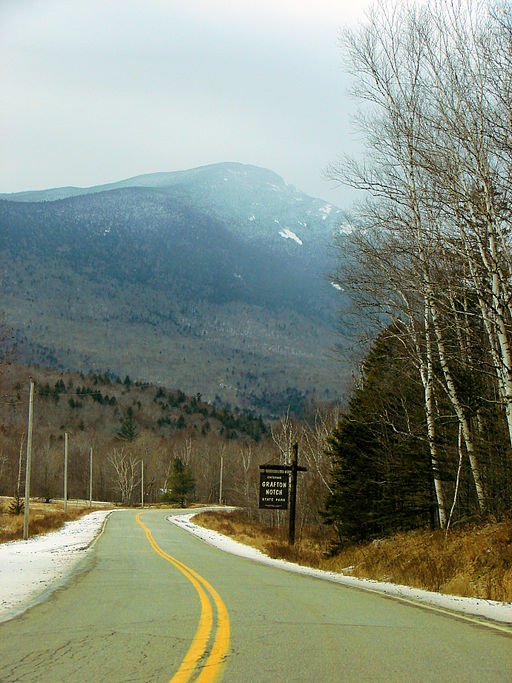 The road through Grafton Notch with Old Speck Mountain in the background.