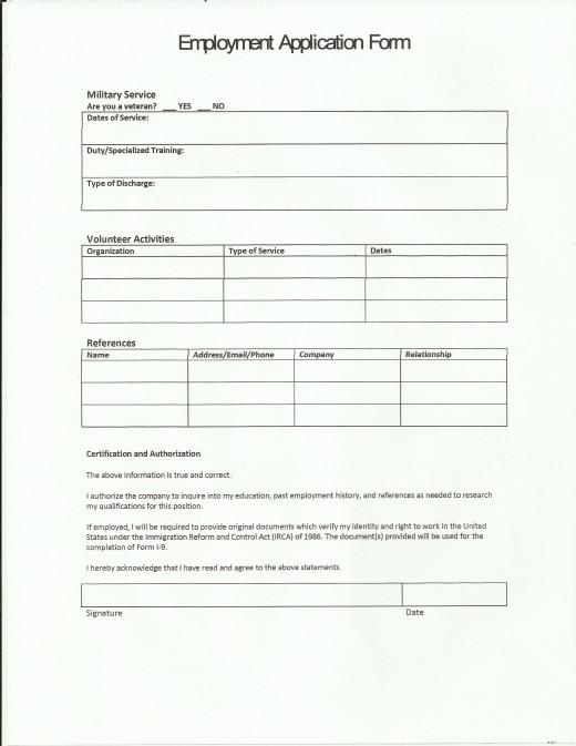 sample job application page 3