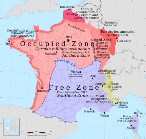 Occupation zones of France during the Second World War.
