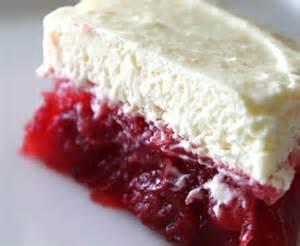 White Jello layered over strawberry jello.