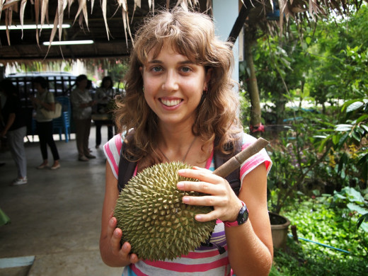 Lindsay with her $300 (USD) Nonthaburi Ganyao durian. (Photo - courtesy from Lindsay)