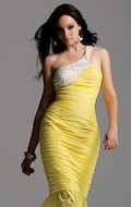 1. Yellow & White One Shoulder Gown by Faviana. $378. Available at edressme.com. photo credit, edressme.com