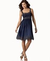 6. Adriana Papell Short Chiffon Beaded Dress. $218. Macy's. photo credit, Macy's