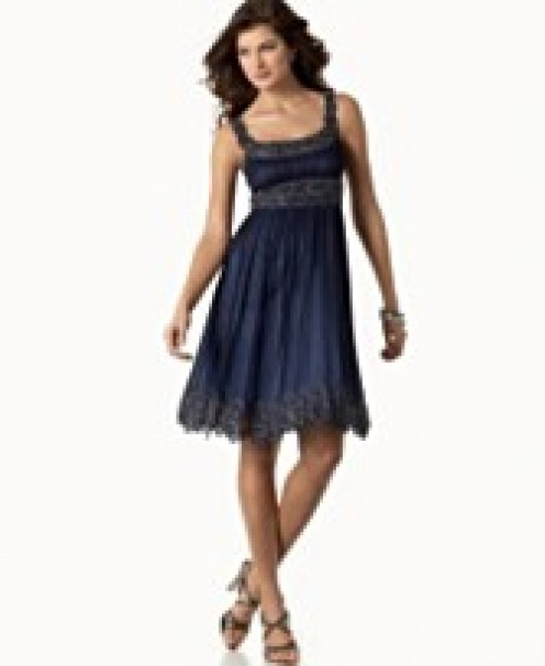 6. Adriana Papell Short Chiffon Beaded Dress. $218. Macy's. photo credit, Macy's