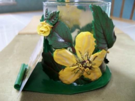 Business Card Holder Art - Yellow Flowers