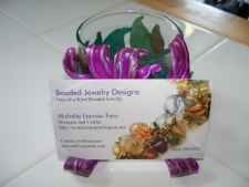 Business Card Holder Art - Purple Flower