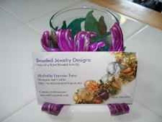 Business Card Holder Art - Purple Flower