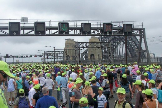 The Sydney Harbour Bridge Bridge Walk - Sunday March 18, 2007. More than 200,000 people joined to celebrate the bridge 75th birthday, thousands take photos to commemorate a unique chance to walk one of the world's greatest structures.