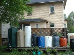 Many different types of rain containers