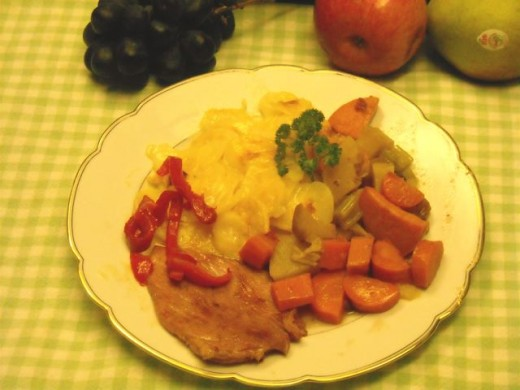 chicken breast, root vegetables (tzimmis) and pasta.