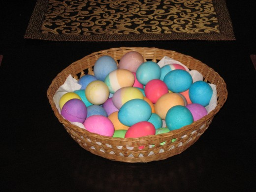 A basket of decorated Easter Eggs