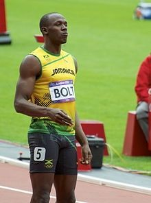 Usain Bolt on the tracks