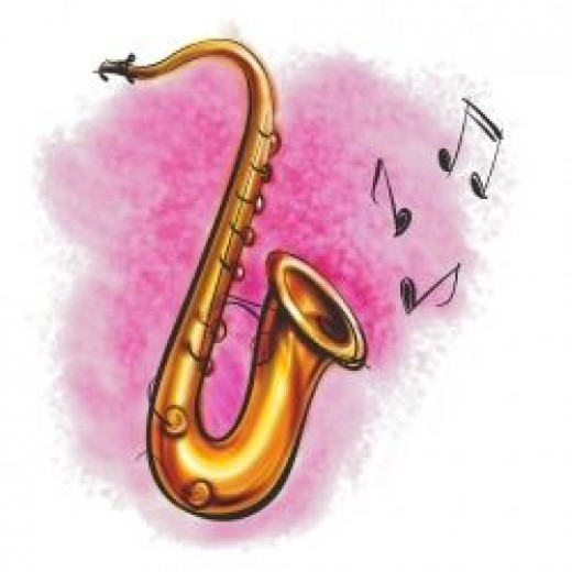 Saxophone with musical notes