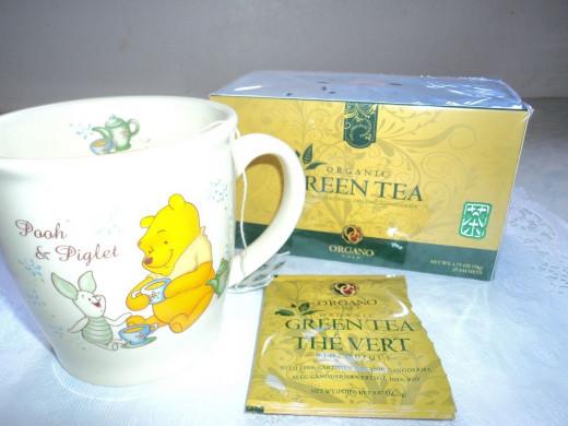Green Tea in my Pooh & Piglet Mug