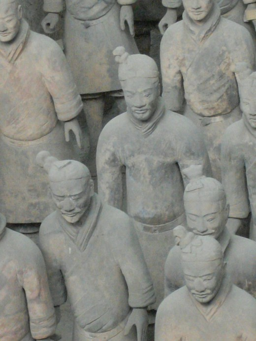 Every warrior has a different face.  The bodies were cast in molds and each head was handcrafted separately.