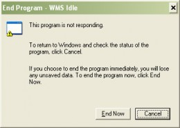 Screenshot of the WMS Idle Error message I got every time I shut down my computer.