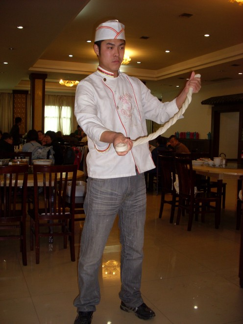 Handsome chef showing us how he hand-makes noodles.  There are many local restaurants serving superb local cuisine.