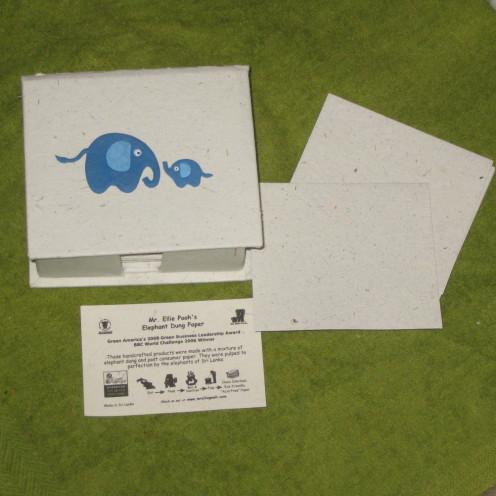 Fair trade elephant dung paper.