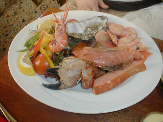 Seafood platter as served at the Port Charlotte Hotel, Islay