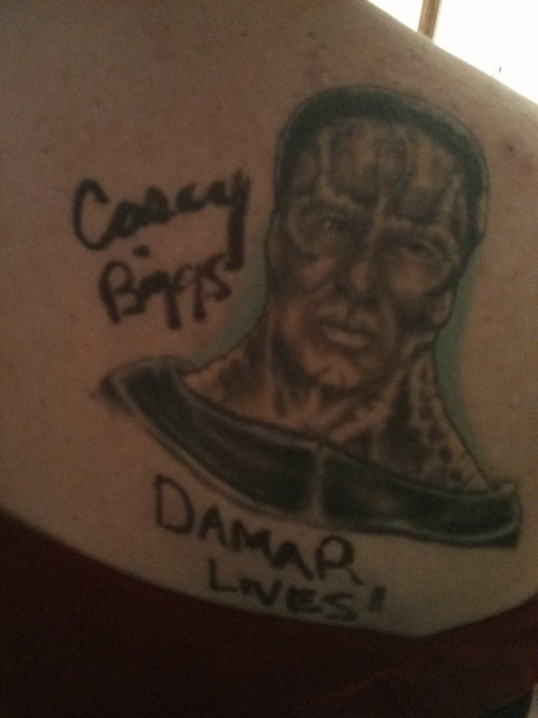 My tatt of Cardassian Legate Damar from Star Trek Deep Space Nine.  This character has a lot of meaning for me.  The actor loved it enough to offer to autograph it.  Lucky me!