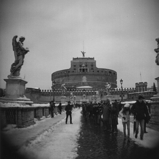 Ponte Sant'Angelo in the snow with a wide angle Holga lens