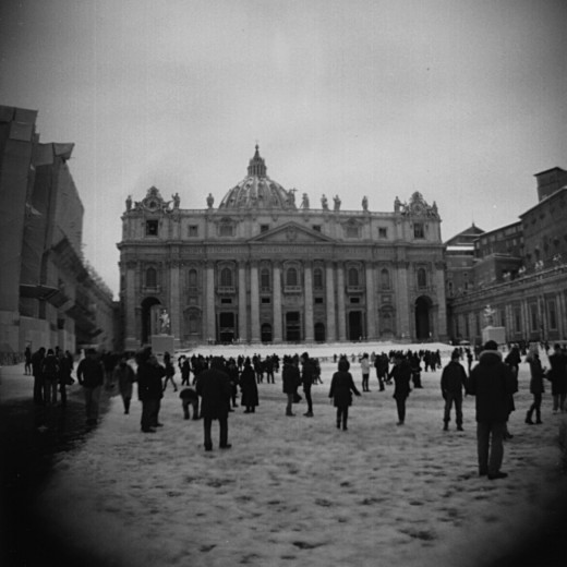 Piazza San Pietro in the snow taken with a Holga 120N using a wide angle lens