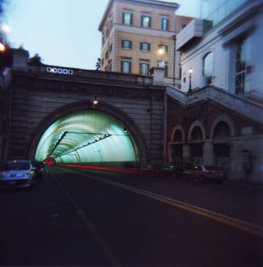 Umberto I Tunnel, Via Nazionale, Rome - early evening with bulb setting and long exposure