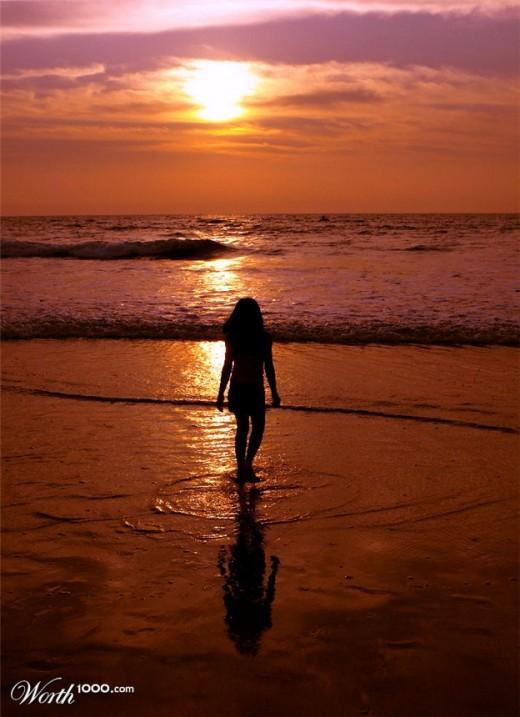 Girl Before Ocean