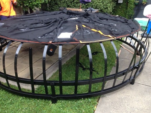 The Base metal strips are connected to hooks under the trampoline mat making it extremely safe