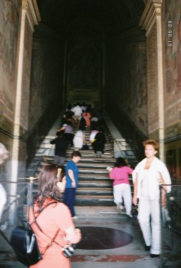 "The ""Holy Stairs"" near St. John Lateran - 28 white marble steps, now encased by wooden steps. The staircase is to be have been part of the praetorium of Pilate in Jerusalem, hence were sanctified by the footsteps of Jesus Christ during his Passion."