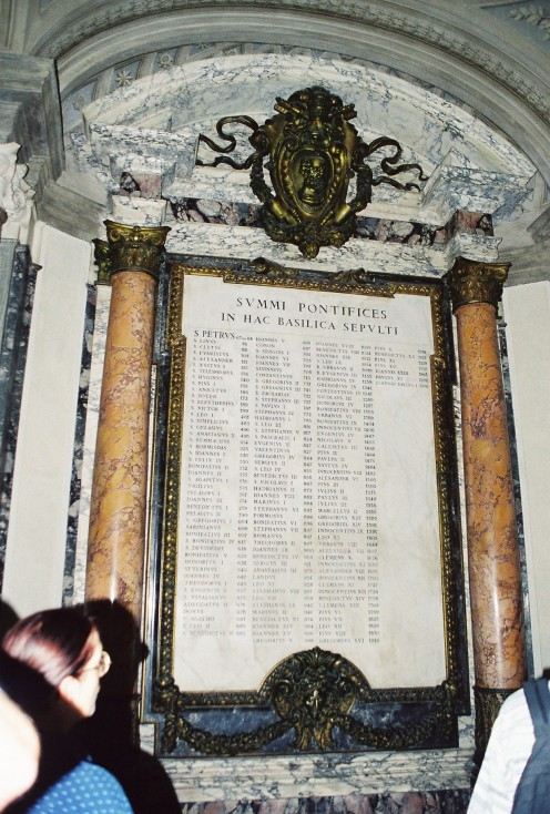 A complete list of all the popes, carved in marble.