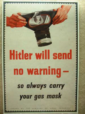 Poster warning people to carry their gas masks all the time.