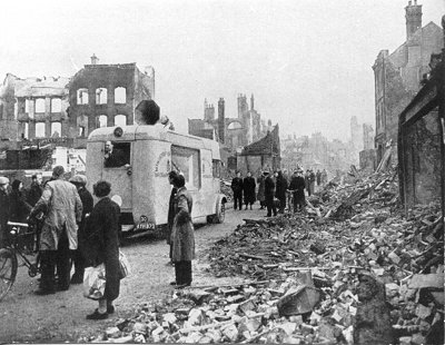 A WVS van in the aftermath of an air raid, Liverpool 1941.