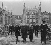 Churchill in the ruins of Coventry Cathedral, November 1940.