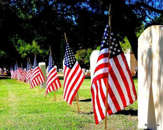 Memorial Day Flags in Military Cemetary