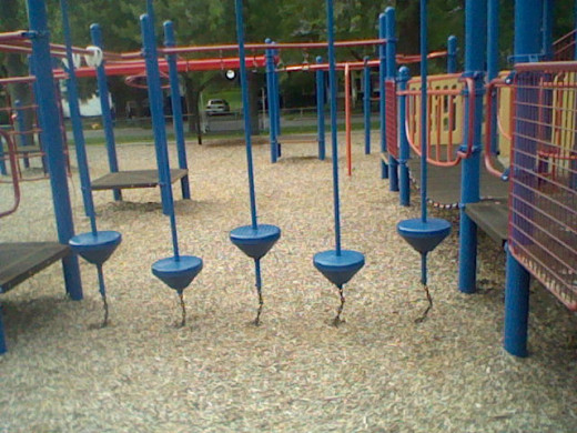 There are two different versions of this one. At this playground it is part of a bigger play set. At another it is a stand alone.