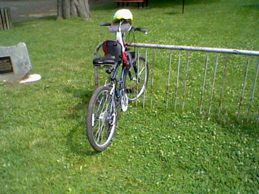 A bike rack. They seam to be set to the side but are always available.
