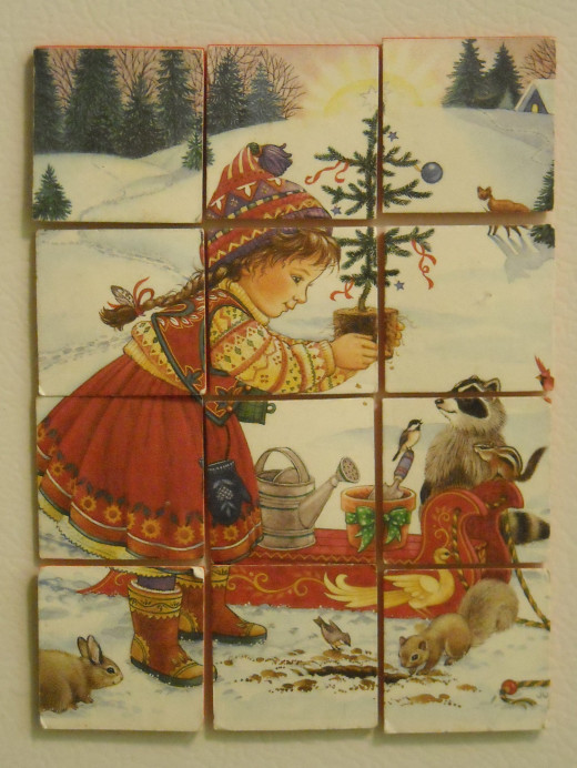 Here's a puzzle made from a Christmas Card.
