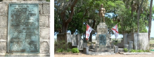 Plaque and Statue of Ponce De Leon St. Augustine