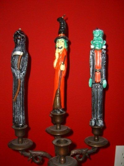 Here are the Grim Reaper, Witch, and Frankenstein candles, a few more of my favorites. I love the colors and details.