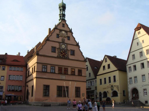 Rothenburg town square and clock tower