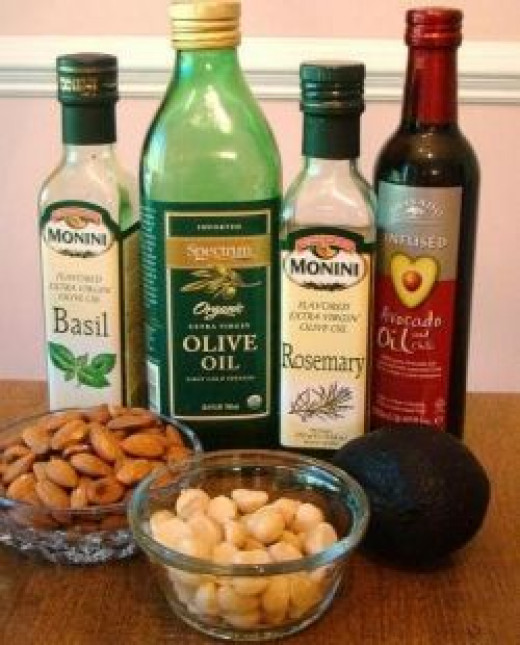 Healthy fats: Nuts, extra virgin olive oil, and avocados