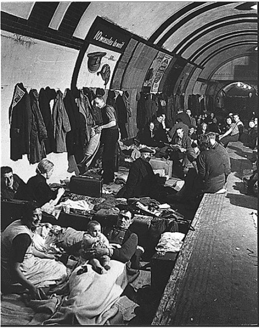 People sheltering in Aldwych tube station