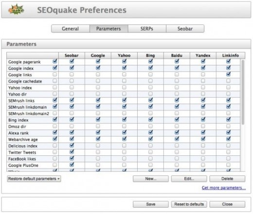 SEOquake Preferences - Parameters