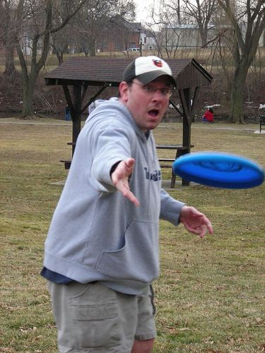 Throwing a Frisbee